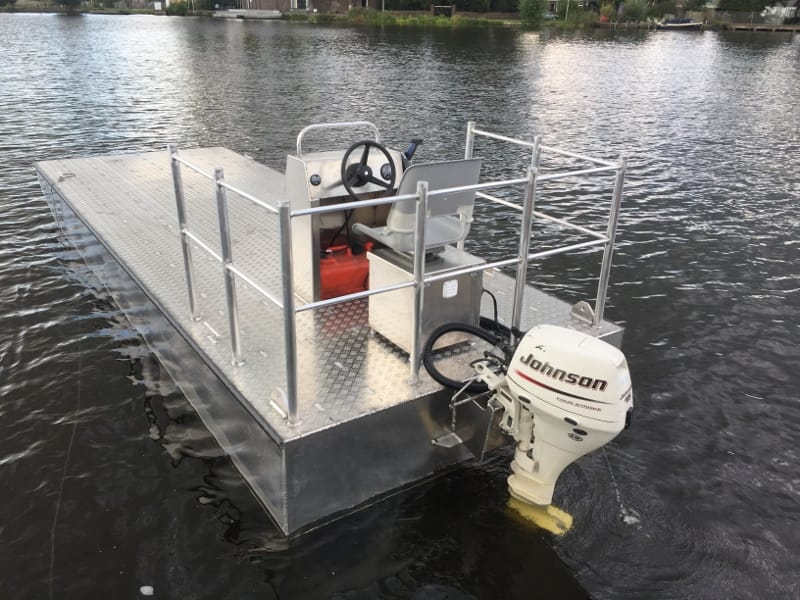 Rental aluminum work pontoon 6m by AluminiumJON with 15 PK Johnson outboard motor