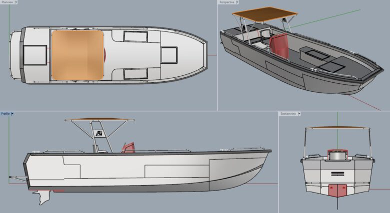 alumnium tender boat. aluminiumJon 8 meter.